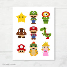 Load image into Gallery viewer, Mario Bros Art Print, Video Game Printable Party Decor & Room Wall Art