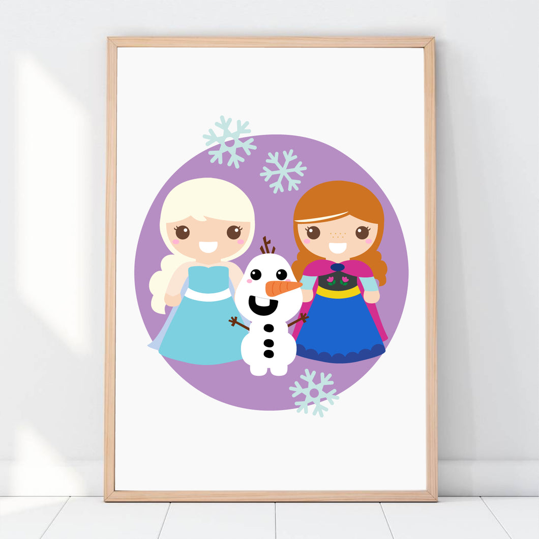 Princess Art Print, Frozen Elsa Anna Print, Printable Kids Wall Art Room Decor