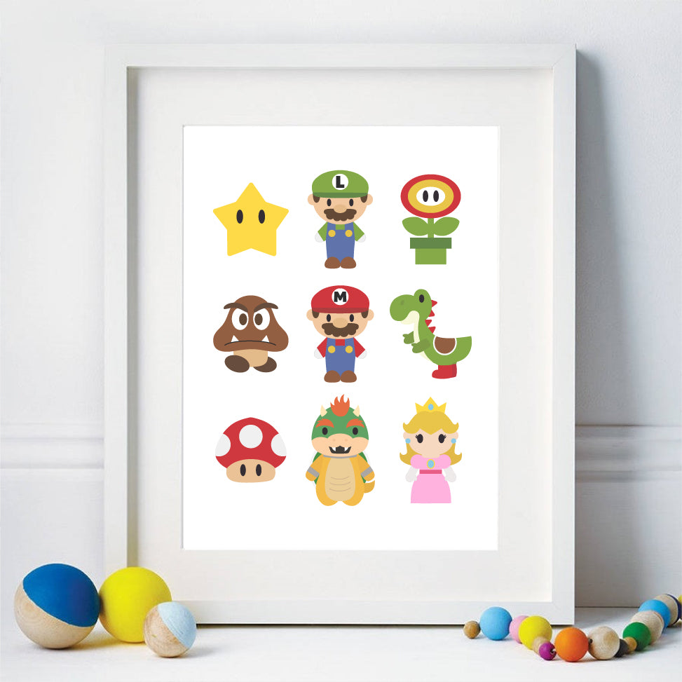 Mario Bros Art Print, Video Game Printable Party Decor & Room Wall Art