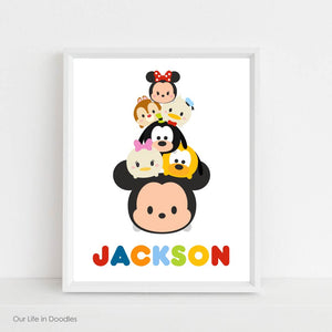 Tsum Tsum Art Print, Mickey Mouse Personalized Name, Printable Room Decor