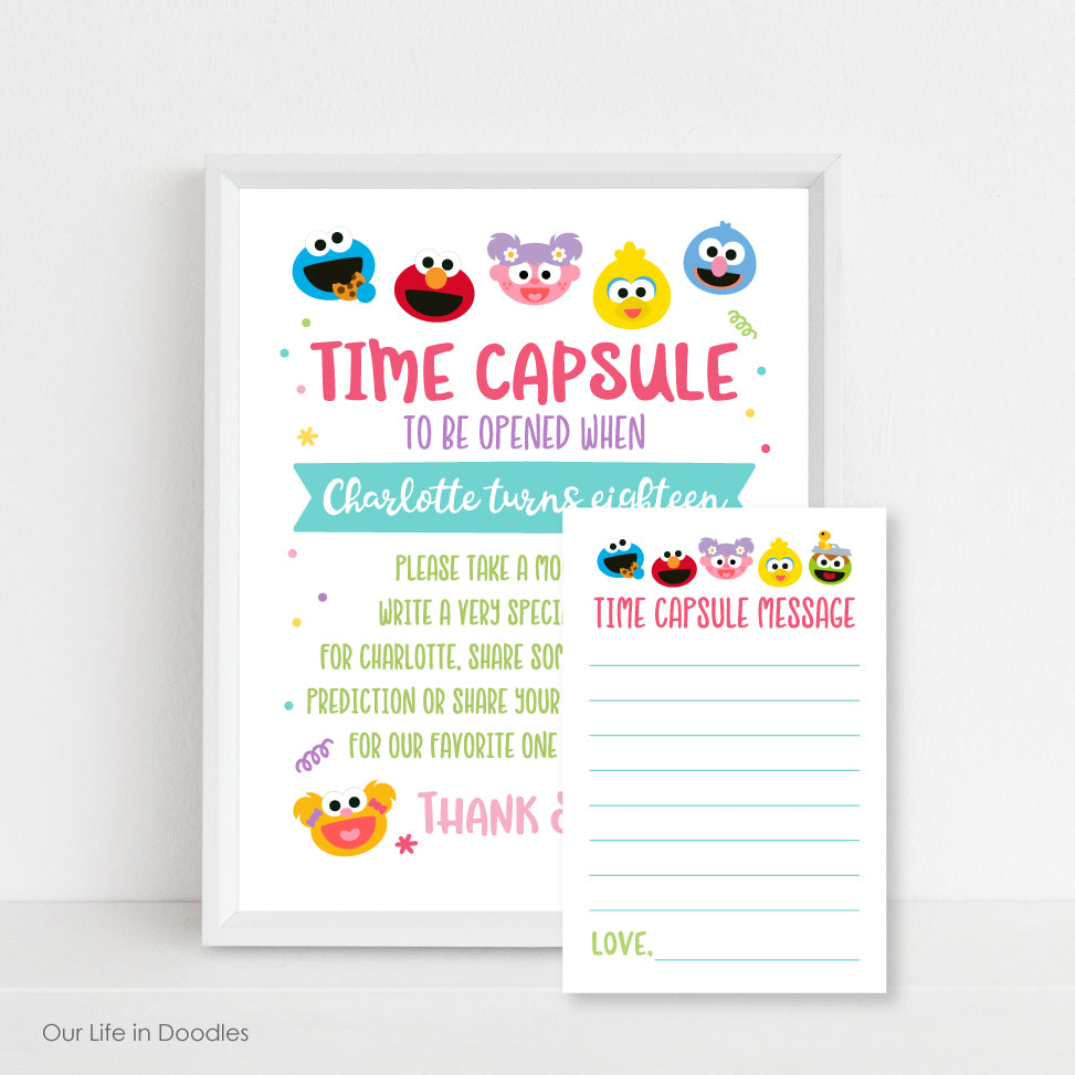 Sesame Street Time Capsule Sign & Time Capsule Cards, Monsters First Birthday Party, Printable Party Decor