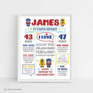 Transformers Birthday Sign, Milestone Art Print, Printable Party Decor