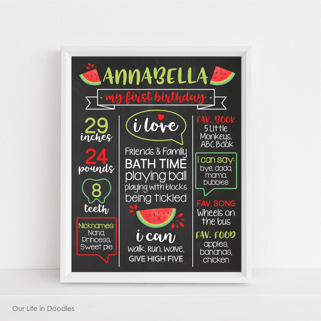Watermelon First Birthday Sign, Milestone Art Print, Fruit Party Decor, Printable Kids Room