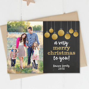 Christmas Photo Card, Holiday Picture Card, Merry Christmas To You, Gold Glitter Ornaments