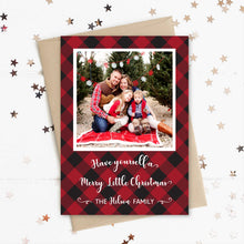Load image into Gallery viewer, Christmas Photo Card, Holiday Picture Card, Merry Little Christmas, Flannel Plaid Red and Black