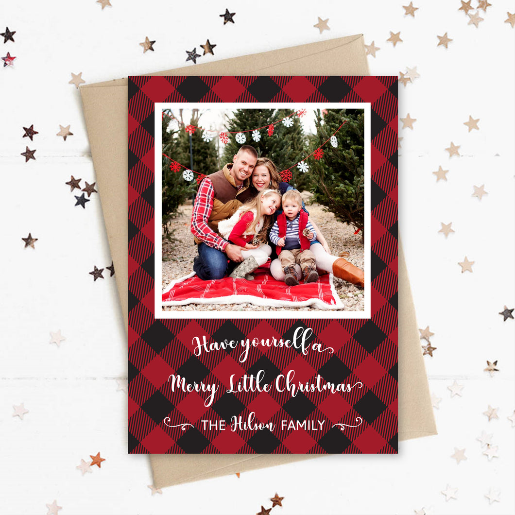 Christmas Photo Card, Holiday Picture Card, Merry Little Christmas, Flannel Plaid Red and Black