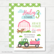 Load image into Gallery viewer, Farm Animals Invitation, Pink Barn Birthday Party Invite