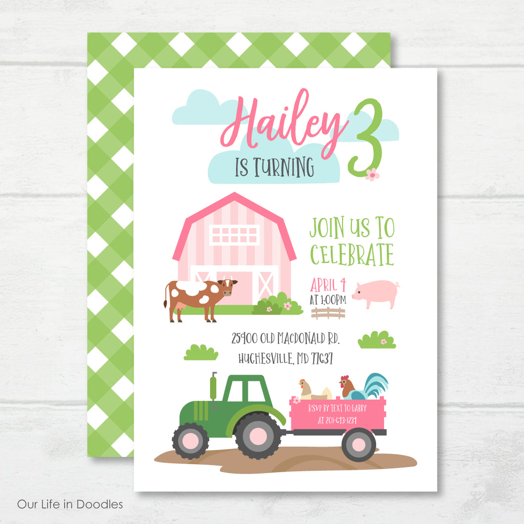Farm Animals Invitation, Pink Barn Birthday Party Invite