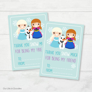 Valentines Day Card, Frozen Classmates Printable