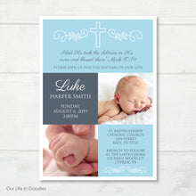 Load image into Gallery viewer, Baptism Invitation, Religious Picture Invite Card