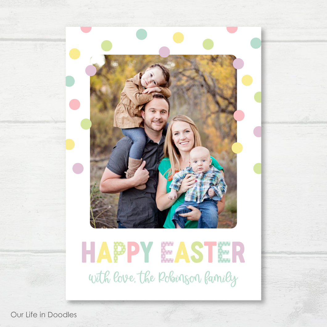Easter Photo Card, Polka Dot Happy Easter Picture Card