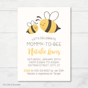 Bee Invitation, Mommy to Bee Baby Shower Invite