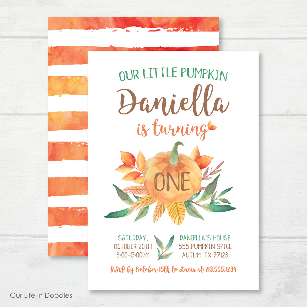 Our Little Pumpkin Invitation, Fall First Birthday Invite