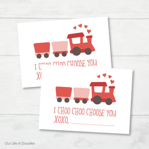 Valentines Day Card, Train Choo Choo Printable