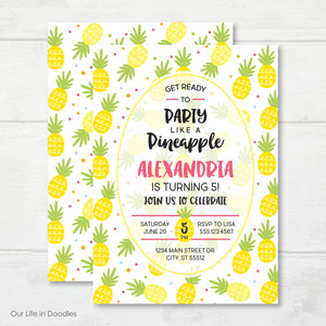 Pineapple Invitation, Fruit Birthday Party Invite