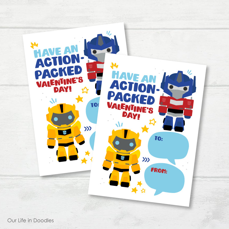 Valentines Day Card, Transformers Robots Printable