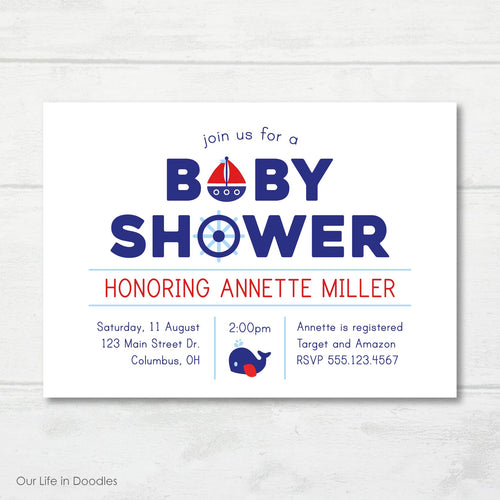 Nautical Invitation, Whale Boat Anchor Baby Shower Party Invite