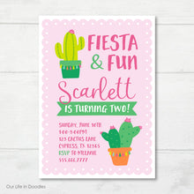 Load image into Gallery viewer, Cactus Invitation, Cactus & Tassels Birthday Party Invite