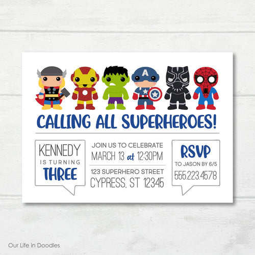 Super Heroes Invitation, Avengers Inspired Birthday Party Invite