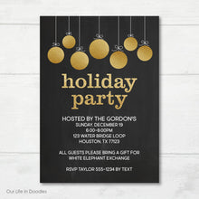 Load image into Gallery viewer, Christmas Party Invitation, Gold Ornaments Holiday Party Invite