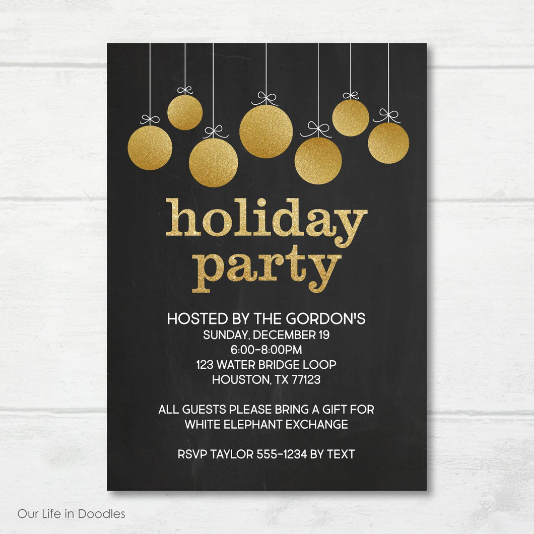 Christmas Party Invitation, Gold Ornaments Holiday Party Invite