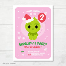 Load image into Gallery viewer, Christmas Birthday Invitation, Grinchmas, The Grinch Inspired Holiday Birthday Party Invite