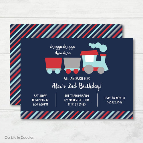 Train Invitation, Choo Choo Train Locomotive Birthday Party Invite