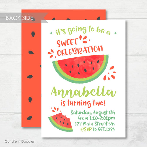 Watermelon Invitation, Watermelon Fruits Birthday Party Invite