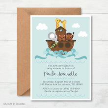 Load image into Gallery viewer, Noah's Ark Invitation, Animals Baby Shower Invite