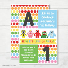 Load image into Gallery viewer, Monsters Robots Invitation, Yo Gabba Gabba Inspired Birthday Party Invite