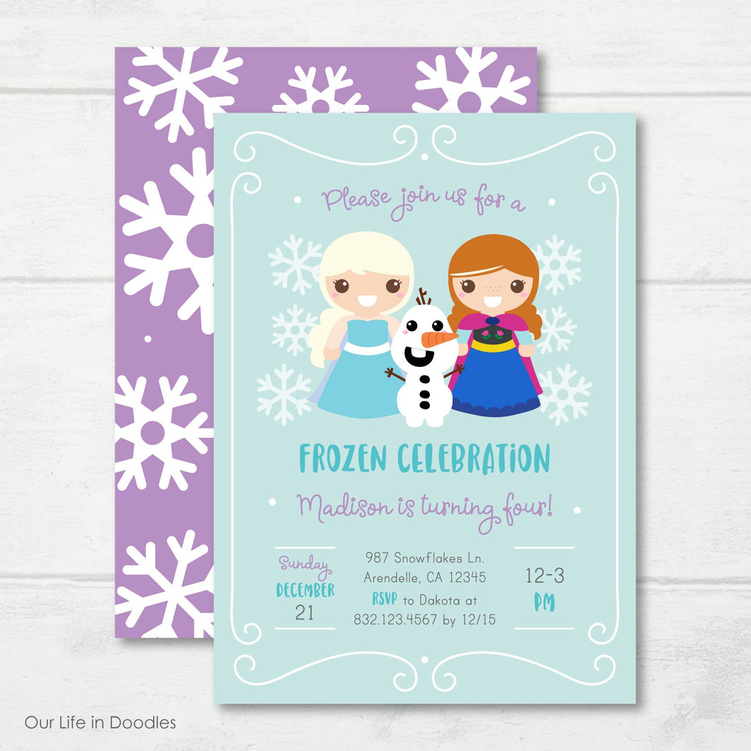Princess Invitation, Frozen Inspired Snowflakes Birthday Invite
