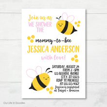 Load image into Gallery viewer, Bumble Bee Invitation, Honey Comb Baby Shower Invite