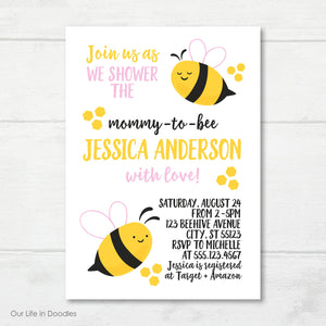 Bumble Bee Invitation, Honey Comb Baby Shower Invite
