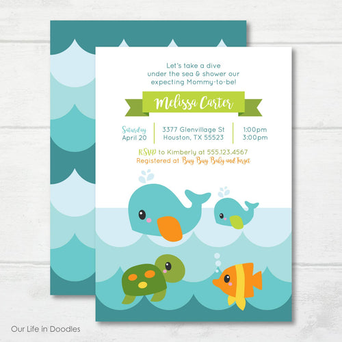 Ocean Invitation, Whale Ocean Creatures Baby Shower Party Invite