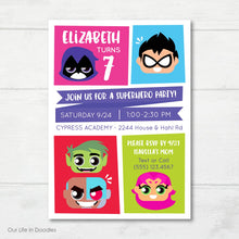 Load image into Gallery viewer, Super Heroes Invitation, Teen Titans Inspired Birthday Party Invite