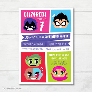 Super Heroes Invitation, Teen Titans Inspired Birthday Party Invite