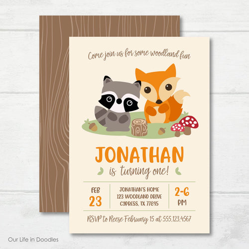 Forest Invitation, Woodland Forest Creatures Birthday Party Invite
