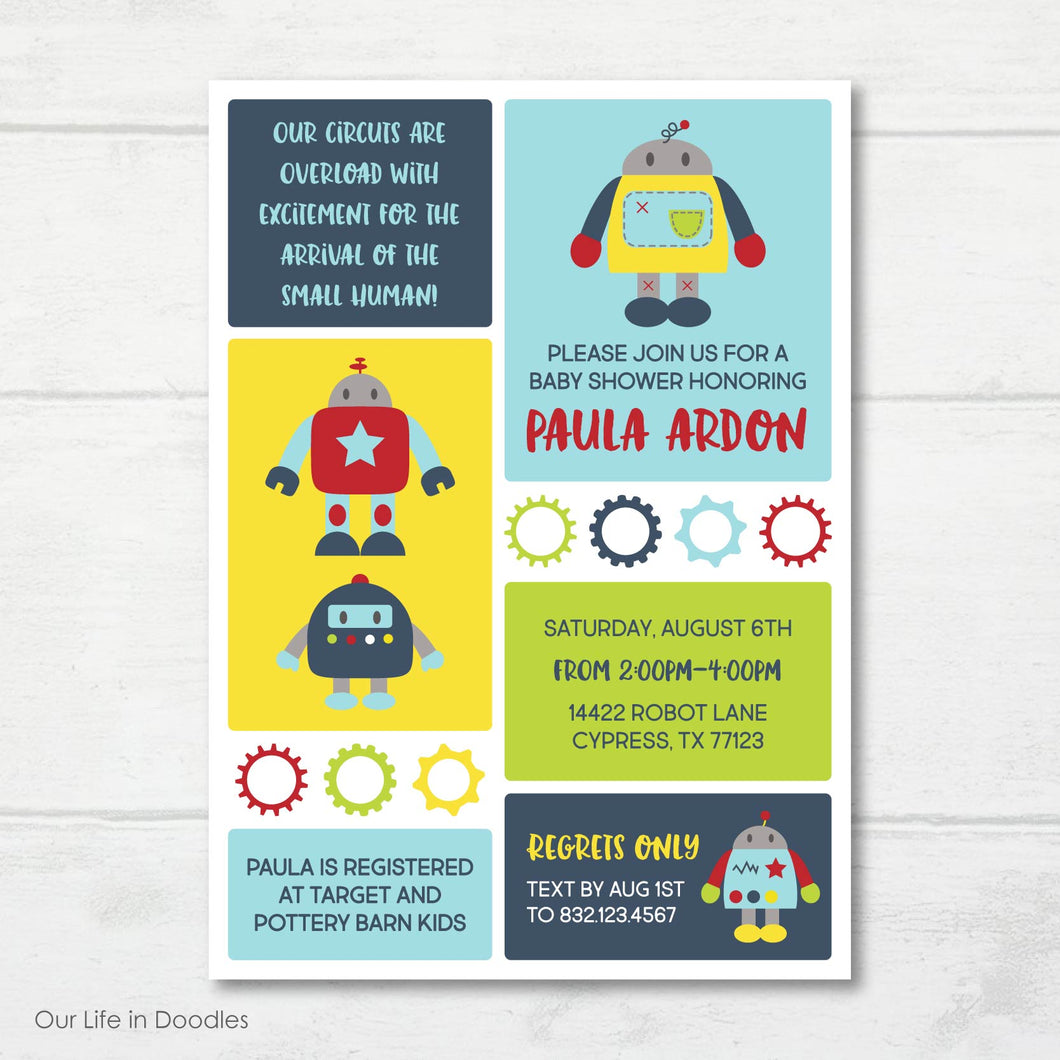 Robot Invitation, Bolts and Nuts Robot Baby Shower Invite