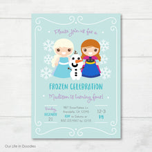 Load image into Gallery viewer, Princess Invitation, Frozen Inspired Snowflakes Birthday Invite