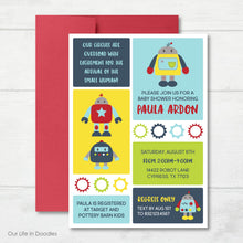 Load image into Gallery viewer, Robot Invitation, Bolts and Nuts Robot Baby Shower Invite