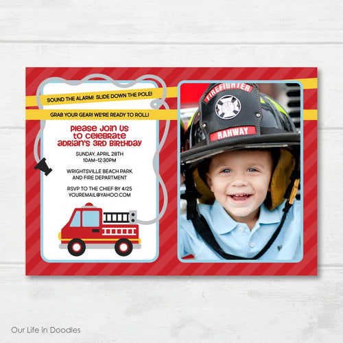 Fire Truck Picture Invitation, Fire House Birthday Party Invite