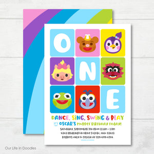 Muppet Babies Invitation, Muppet Babies Inspired Birthday Party Invite
