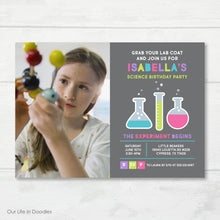 Load image into Gallery viewer, Science Picture Invitation, Mad Science Birthday Party Invite