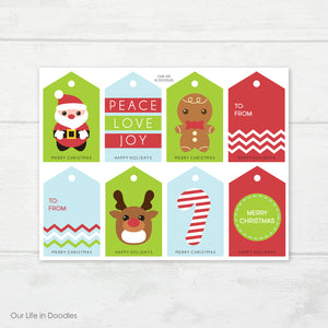 Christmas Gift Tags, Printable Presents Labels, Santa Claus Kids Tags