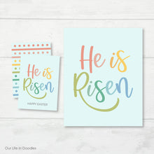 Load image into Gallery viewer, He is Risen Art Print & Favor Tags Combo, Happy Easter Printables