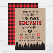Load image into Gallery viewer, Lumberjack Invitation, Wood Plaid Birthday Party Invite