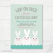 Load image into Gallery viewer, Easter Invitation, Easter Egg Hunt Bunnies Invite Card