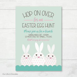 Easter Invitation, Easter Egg Hunt Bunnies Invite Card