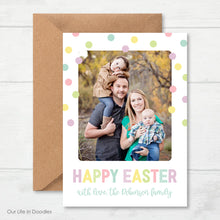 Load image into Gallery viewer, Easter Photo Card, Polka Dot Happy Easter Picture Card
