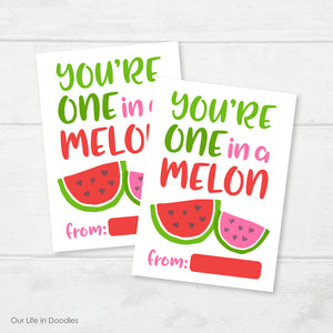 Valentine Card, Watermelon One in a Melon Classmates Printable